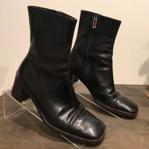 Gucci Black Leather Ankle Boot High Heel Women's